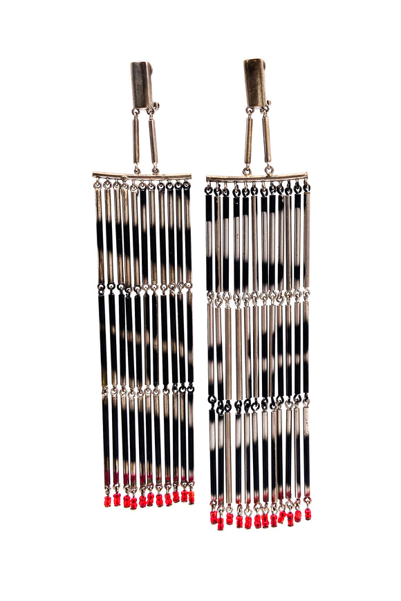 Valentino Couture Fringe Zebra Earrings with Red Glass Beads