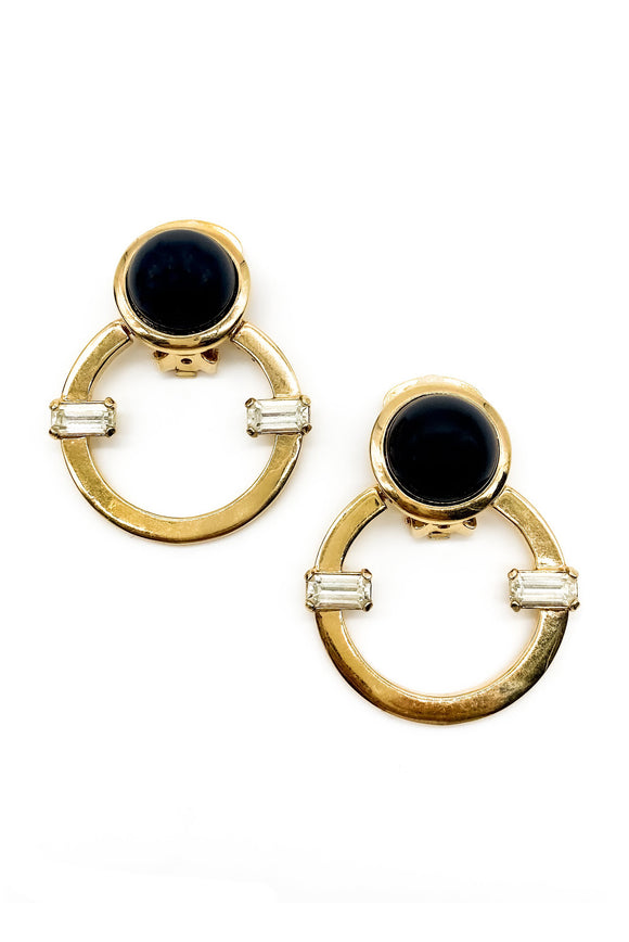 Valentino Hoop Crystal Black Gold Geometric Art Deco Vintage Earrings - BOUTIQUE PURCHASE PRICE