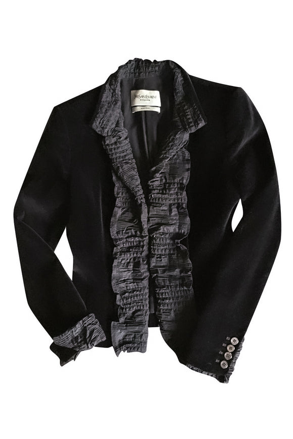 Yves Saint Laurent by Tom Ford Black Velvet Ruffle Blazer FW2001 - BOUTIQUE PURCHASE PRICE