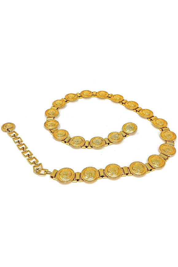 Gold Plated Medium Versace 22 Link Medusa Coin Belt - BOUTIQUE PURCHASE PRICE