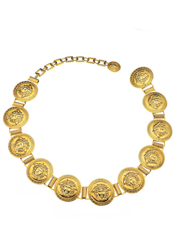Massive 1980's Gold Plated Versace Medusa Coin Belt - 11 Links