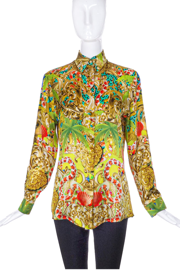 Versace Versus Baroque Jungle Print Silk Shirt