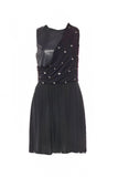 Versus Versace Black Chiffon and Pleather Mini Dress with Silver Medallians