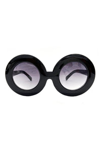 "Oversize Circular Black Framed ""Twiggy"" Sunglasses"