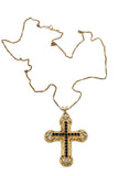 Vintage Gold Filigree Cross with Black Rhinestones