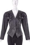 Loewe Vintage Black Leather Jacket with Flower Lace Inlay Embroidery