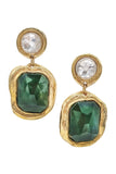 Vintage Parisienne Emerald and Gold Haute Costume Earrings