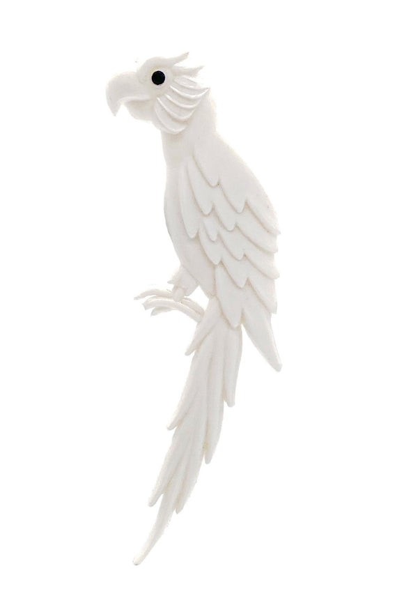 Vintage White Parrot Broach