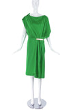 Vionnet Green Side Drape Dress with Metal Detail