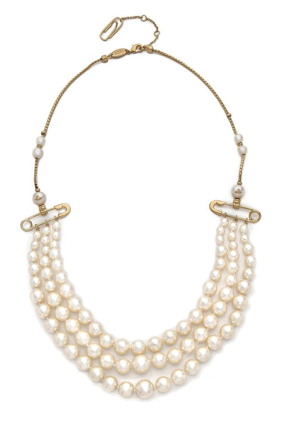 Vivienne Westwood 3 Row Pearl Jordan Necklace with Gold Brass Safety Pin Details