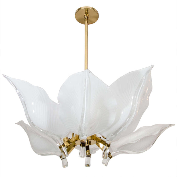 Spectacular six leaf handblown Murano glass chandelier designed by Franco Luce 1970's