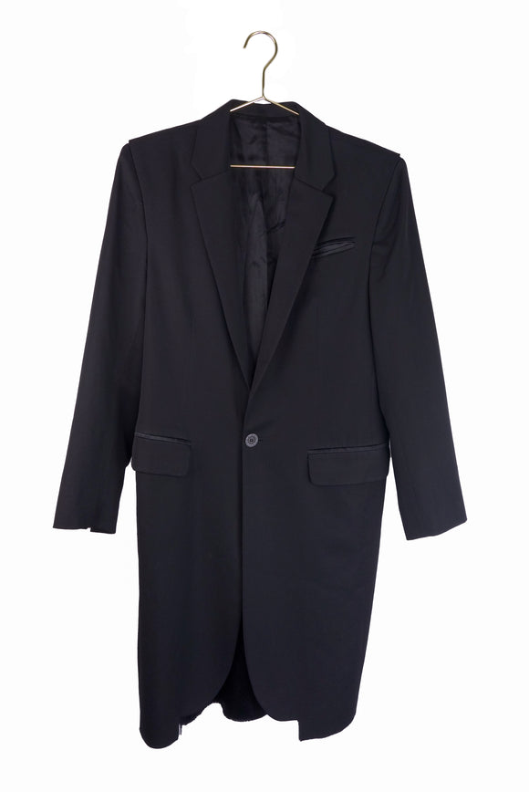 Xavier Delcour Black Overcoat with Folded Shoulder Detail