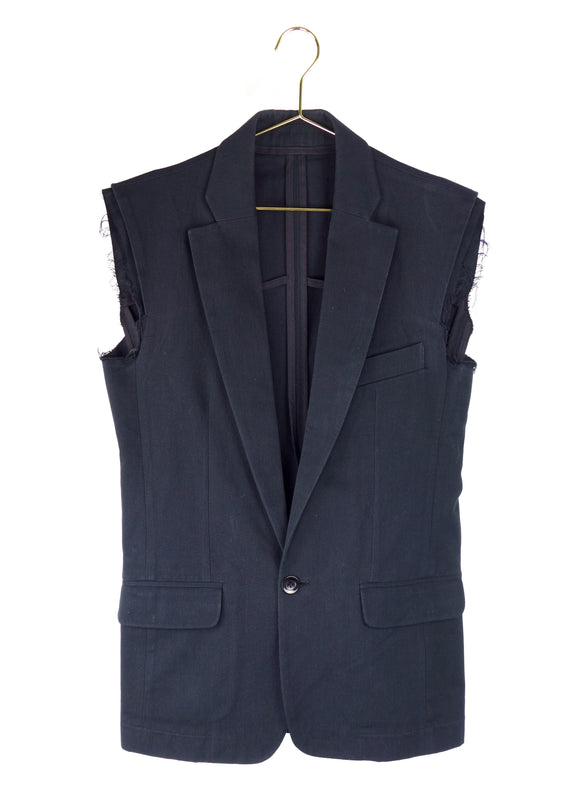 Xavier Delcour Black Sleeveless Blazer with Deconstructed Edges