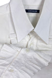 Xavier Delcour Menswear White Cotton Tuxedo Shirt with Pleat Ruffle Bib Front