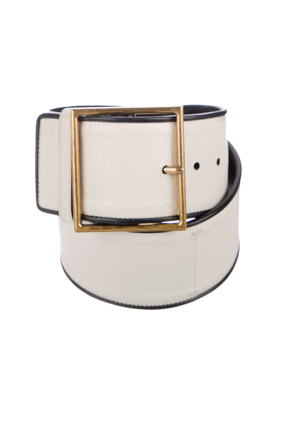 Yves Saint Laurent White Corset Belt with Square Gold Buckle