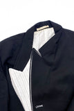 Yohji Yamamoto Black Double Layer Blazer with Pinstripe Lapel