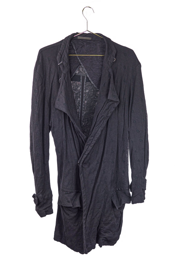 Yohji Yamamoto Y's Black on Black Polka Dot Cardigan with Belt
