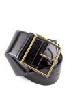 Yves Saint Laurent Black Patent Corset Belt with Square Gold Buckle