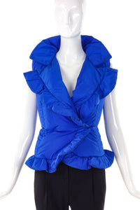 Yves Saint Laurent Limited Edition 24 Cerulean Cinched Puffer Vest - BOUTIQUE PURCHASE PRICE