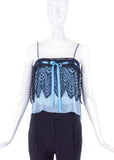 Yves Saint Laurent Blue Chiffon and Black Lace Baby Doll Camisole FW2003 - BOUTIQUE PURCHASE PRICE
