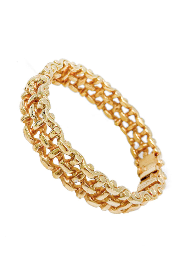 Yves Saint Laurent Gold Basket Weave Bracelet - BOUTIQUE PURCHASE PRICE