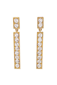 Yves Saint Laurent Gold Bar Crystal Earrings