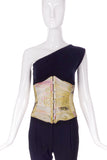 Roberto Cavalli Satin Pastel Print Corset and Tulle Beaded Top SS2003