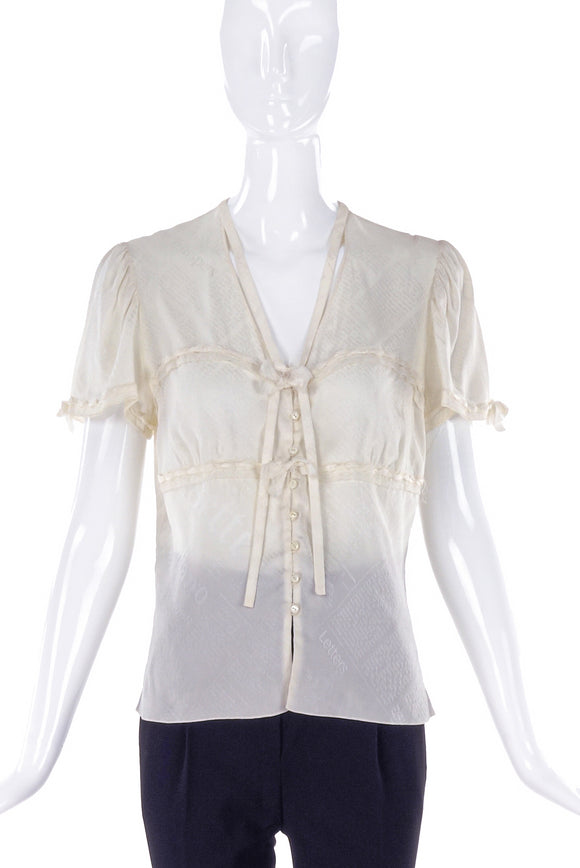 John Galliano Ivory News Print Silk Blouse - BOUTIQUE PURCHASE PRICE