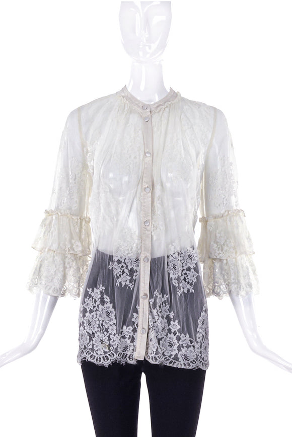 Ghost White Lace Blouse with Ruffle Sleeves - BOUTIQUE PURCHASE PRICE