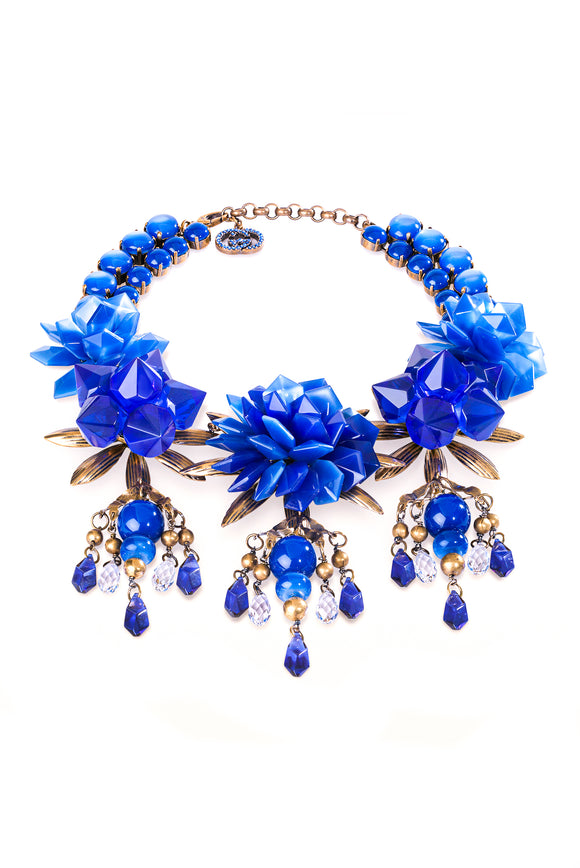 Gucci Lapis Lazuli Blue Resin and Crystal Floral Necklace SS2013
