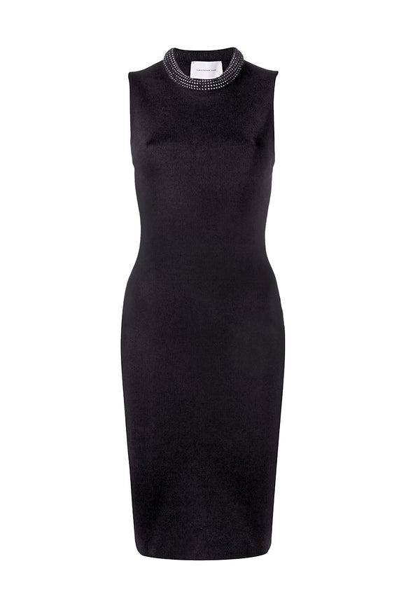 Christopher Kane Black Knit Bodycon Dress with Rhinestones SS2019 - BOUTIQUE PURCHASE PRICE