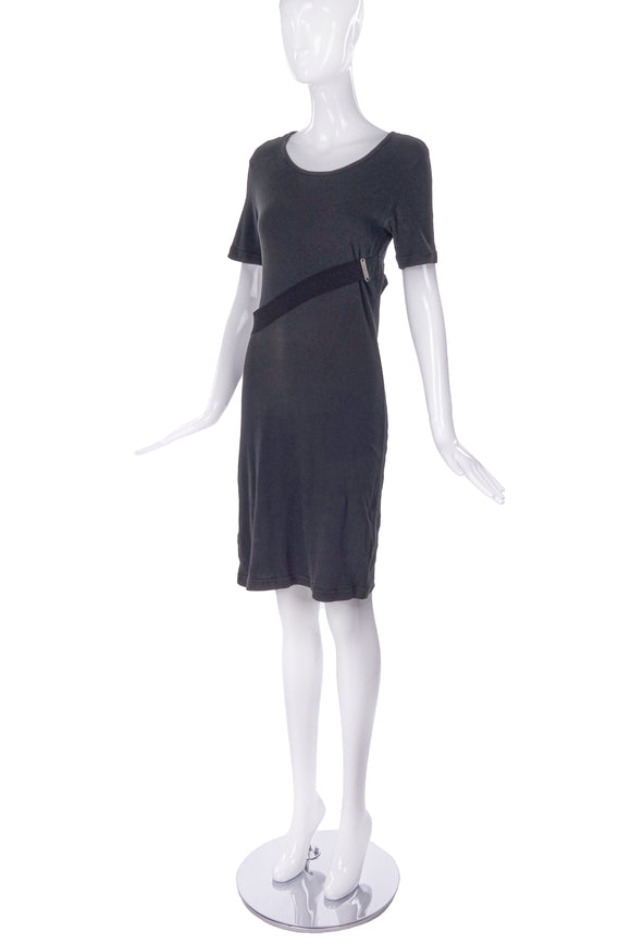 Helmut Lang Grey T-Shirt Dress with a Elastic Harness &