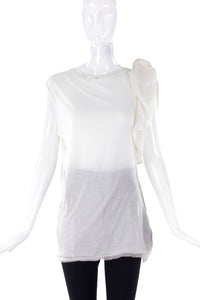 Lanvin White T-Shirt with Shoulder Ruffle Detail