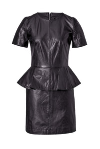 McQ Alexander McQueen Leather Peplum Dress