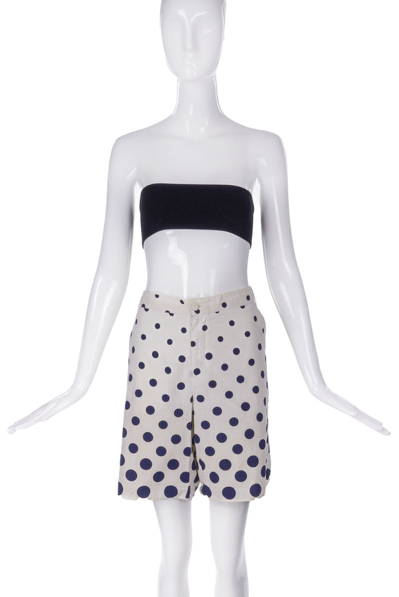 Miu Miu Cotton Bermuda Shorts with Blue Polka Dots - BOUTIQUE PURCHASE PRICE