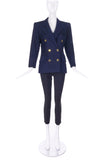 Saint Laurent Rive Gauche Navy Peacoat with Gold Buttons - BOUTIQUE PURCHASE PRICE