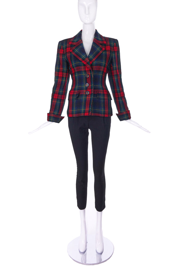 Saint Laurent Rive Gauche Tartan Print Fitted Blazer - BOUTIQUE PURCHASE PRICE