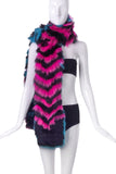 Ohne Titel Pink and Teal Chevron Print Fur Stole FW2015