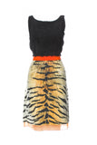 Giambattista Valli Black Boucle and Chiffon Tiger Print Dress - BOUTIQUE PURCHASE PRICE