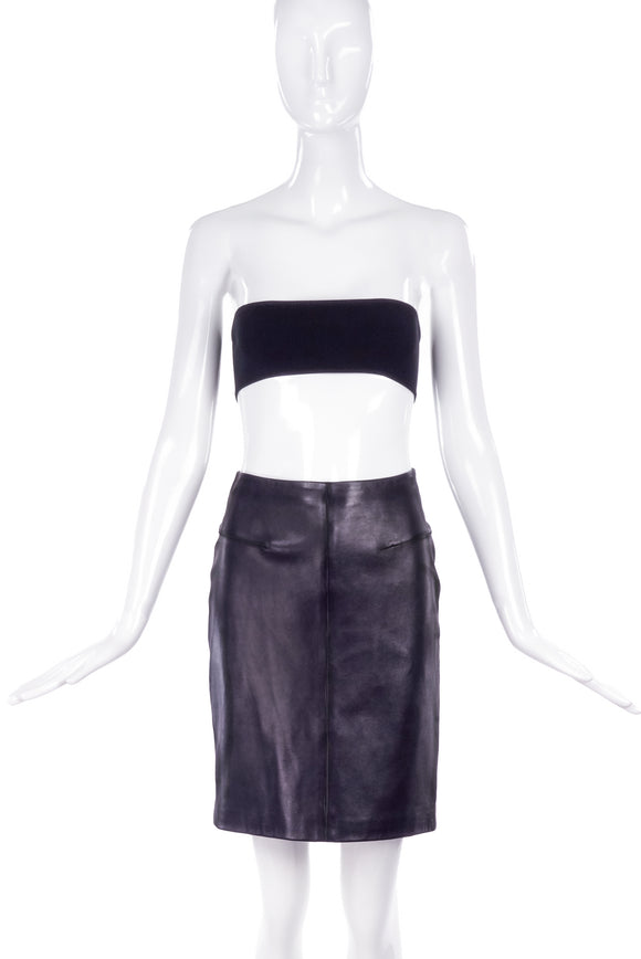 Gianni Versace Black Leather Pencil Skirt - BOUTIQUE PURCHASE PRICE
