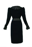 "Saint Laurent Black Velvet ""Catherine Deneuve"" Dress with Silk Ruffle Neck - BOUTIQUE PURCHASE PRICE"