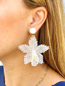 Orchid Earrings - White