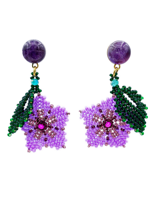Hibiscus Earrings - Amethyst