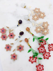 Daisy Earrings - Dusty Pink