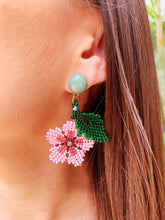Load image into Gallery viewer, Hibiscus Earrings - Aventurine