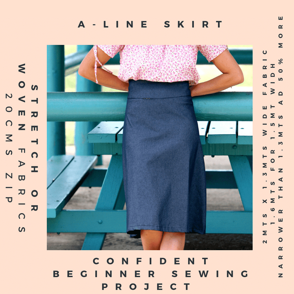 A line skirt pattern with online sewing lessons