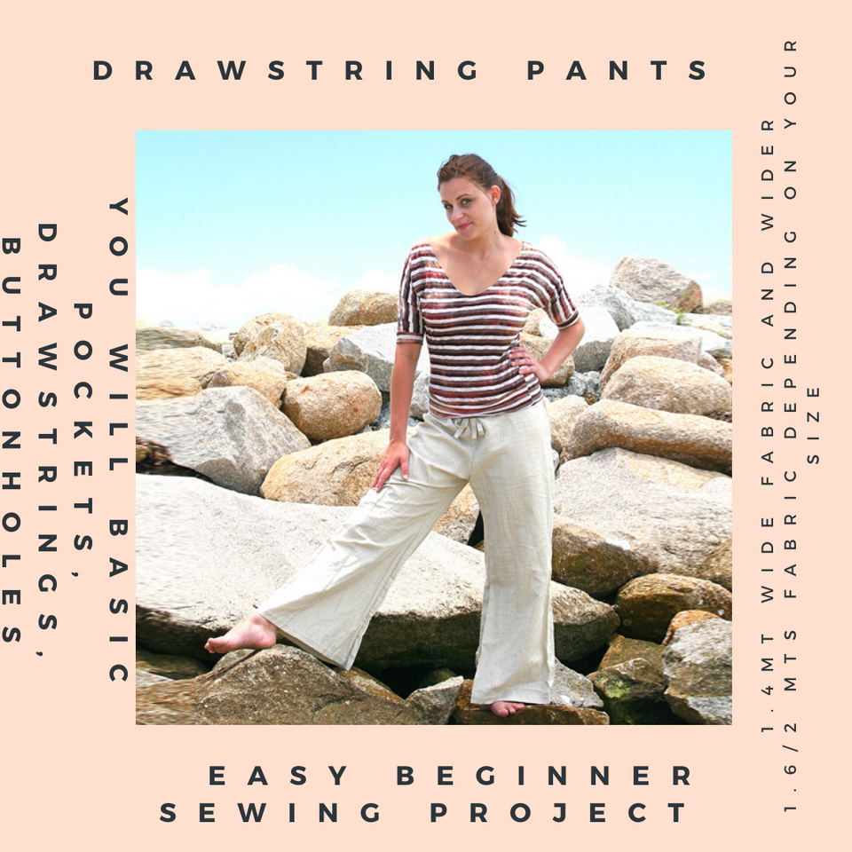 Bootleg Drawstring Pants Pattern