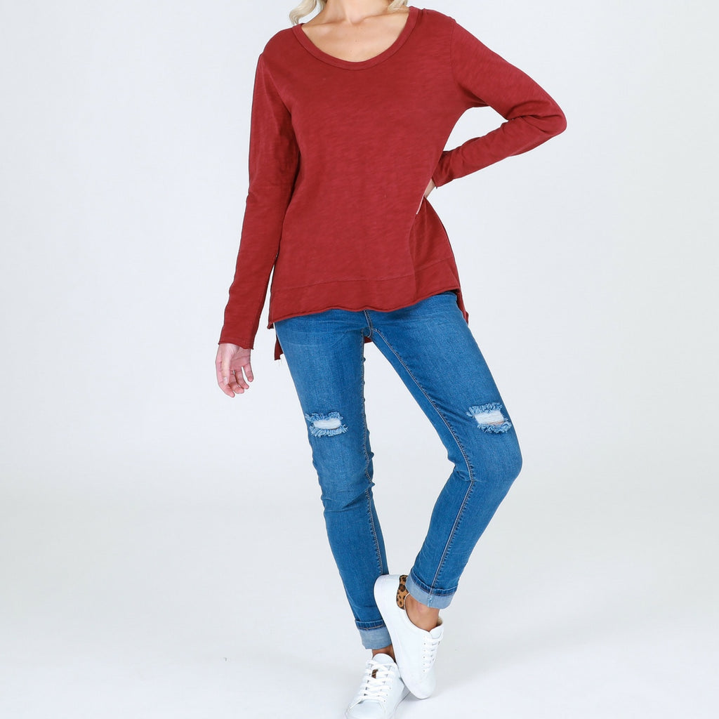 Becker Long Sleeve Tee (Burgundy)