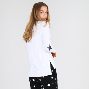 Leopard Star Long Sleeve Tee (White)