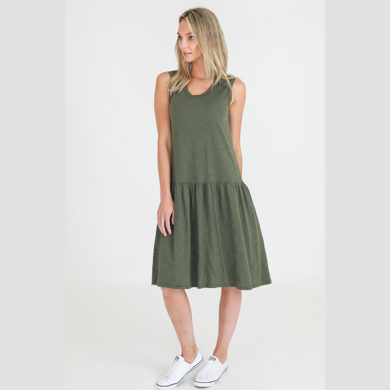 Zoe Cotton Dress (Khaki)